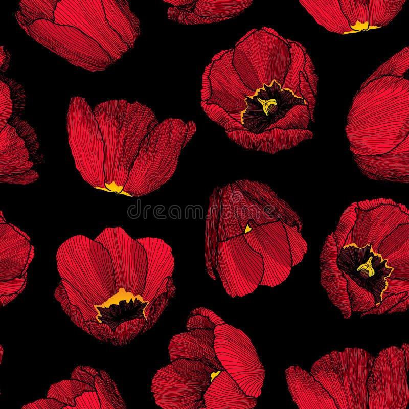 Wektorowej grafiki pociągany ręcznie atramentu bezszwowy wzór czerwony tulipan royalty ilustracja