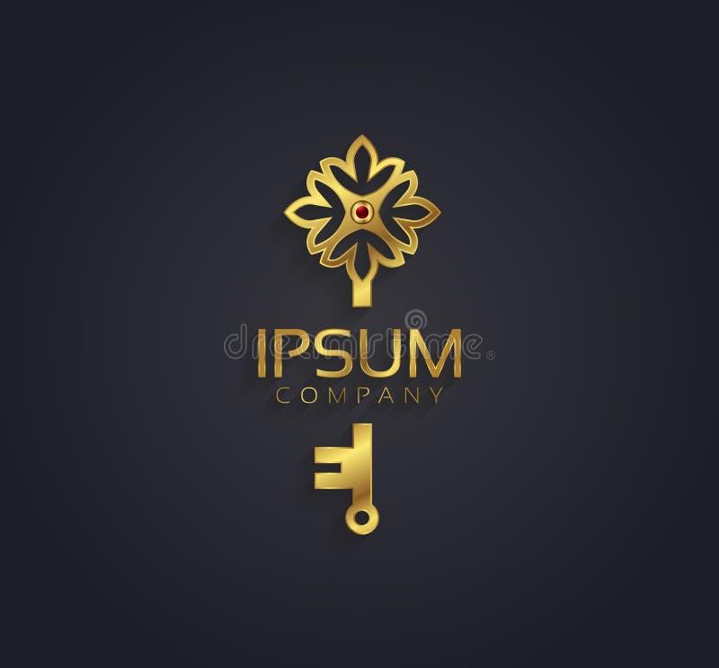 Wektorowej grafiki złoto, rubinowy kwiat i klucz/kształtowaliśmy symbol z próbka tekstem ilustracji