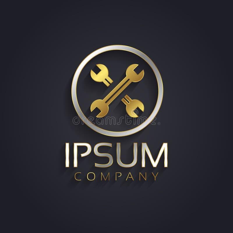 Wektorowej grafiki złoto, srebra wyrwanie i narzędzie symbol dla twój firmy w/złocie i srebrze z próbka tekstem royalty ilustracja