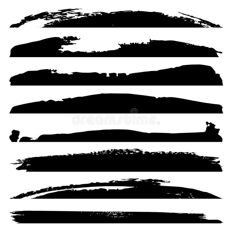 Wektorowej grungy czarnej farby ręcznie robiony kreatywnie szczotkarski uderzenie ustawia odosobnionego na białym tle Grupa abst ilustracji