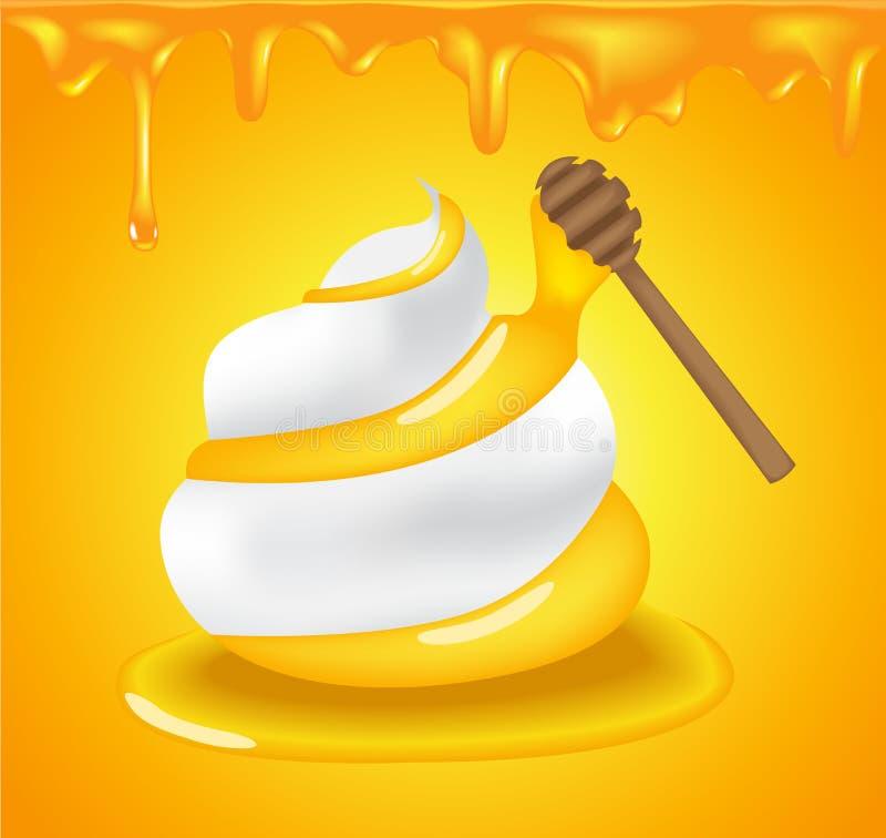 Wektorowej ikony Biały moisturizer i kolagenu Piankowy Kremowy Mousse Mydlimy płukankę, dodajemy złotego miód royalty ilustracja