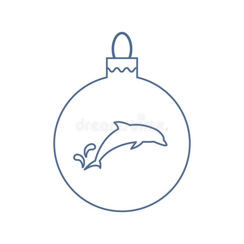 Wektorowej ikony Bożenarodzeniowa piłka z sylwetką delfin w modnym ilustracja wektor
