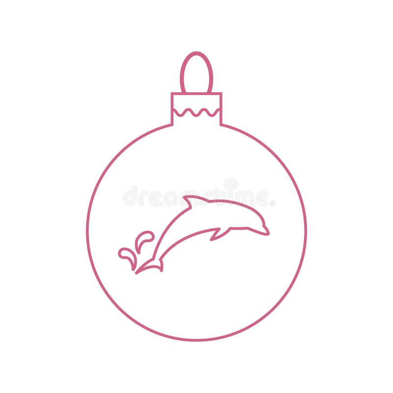 Wektorowej ikony Bożenarodzeniowa piłka z sylwetką delfin w modnym ilustracji