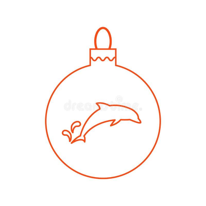 Wektorowej ikony Bożenarodzeniowa piłka z sylwetką delfin w modnym royalty ilustracja