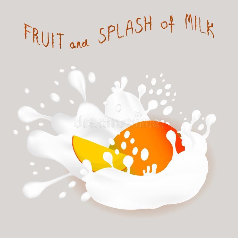 Wektorowej ikony ilustracyjny logo dla dojrzałego egzotycznego owocowego kolorowego mango royalty ilustracja