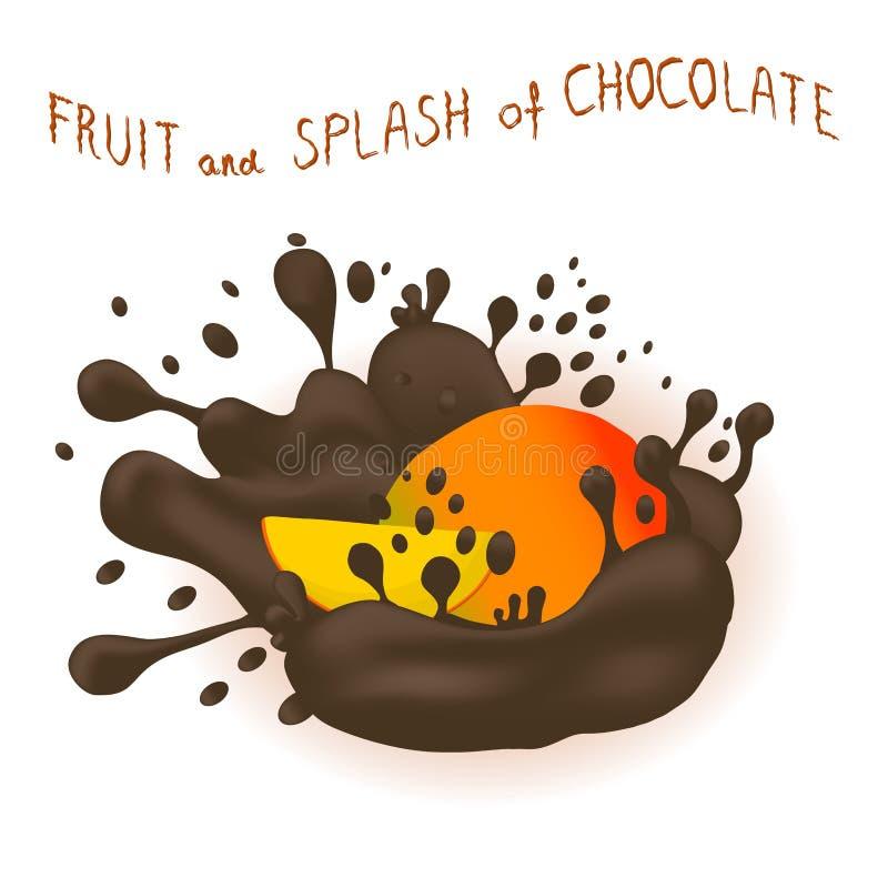 Wektorowej ikony ilustracyjny logo dla dojrzałego egzotycznego owocowego kolorowego mango ilustracja wektor
