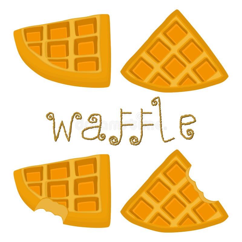 Wektorowej ikony ilustracyjny logo dla ustalonych różnorodnych słodkich gofrów ilustracji
