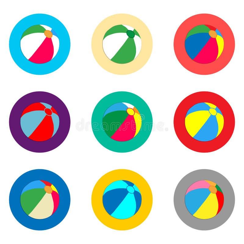 Wektorowej ikony ilustracyjny logo dla ustalonych symboli/lów plażowej piłki dla śliwek ilustracja wektor