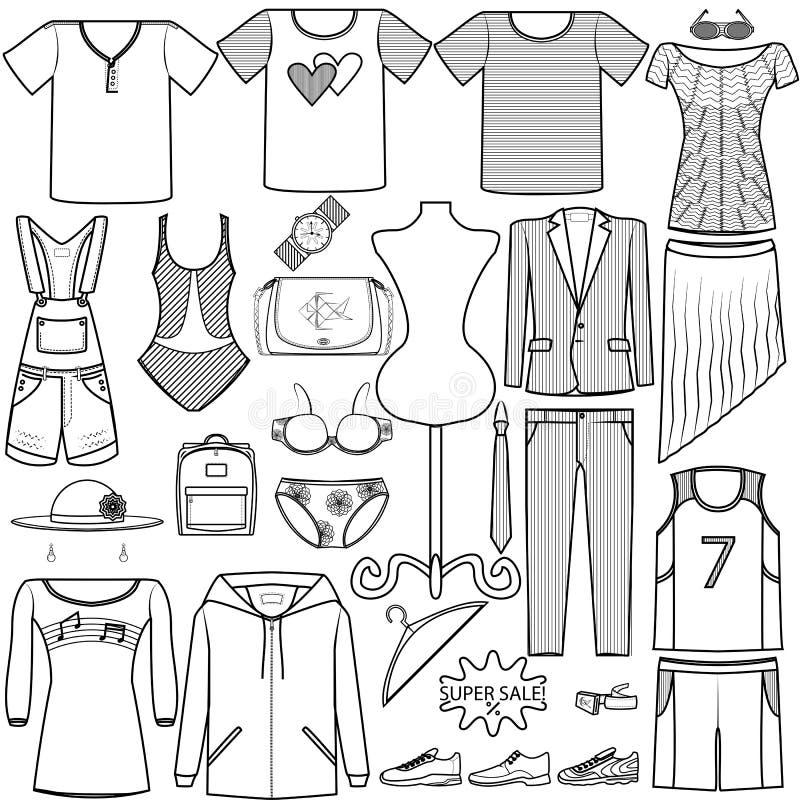 Wektorowej ikony mody ustaleni mężczyzna i kobiety odziewa kostium torby bieliznę kują koszulową kapeluszową nakrętka produktu ka royalty ilustracja