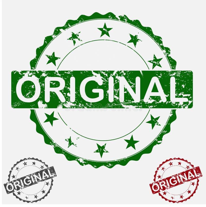 Wektorowej ikony round ustalony znaczek Starzejący się grunge inskrypci oryginał ilustracja wektor