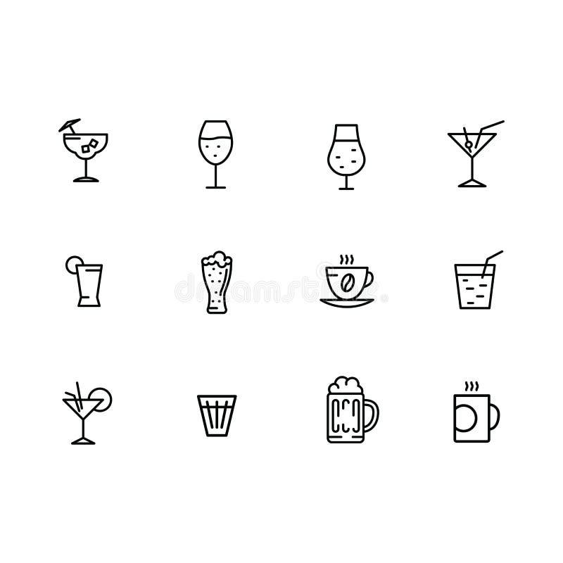 Wektorowej ikony ustaleni alkoholiczni koktajle, wino, zimny piwo, gorąca kawa i herbata, Alkoholicznych napojów konturu odnosić  ilustracja wektor