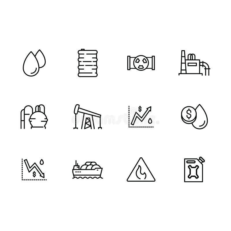 Wektorowej ikony ustalona produkcja benzyna, fue, rafineria ropy naftowej, transportów produkci obróbcy ropi naftoweje i sprzedaż ilustracja wektor