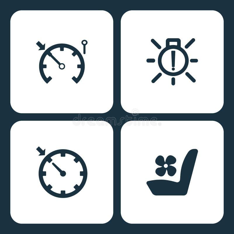 Wektorowej ilustraci deski rozdzielczej Ustalone Samochodowe ikony Elementu szybkościomierz, zewnętrzny żarówki niepowodzenie, re ilustracja wektor