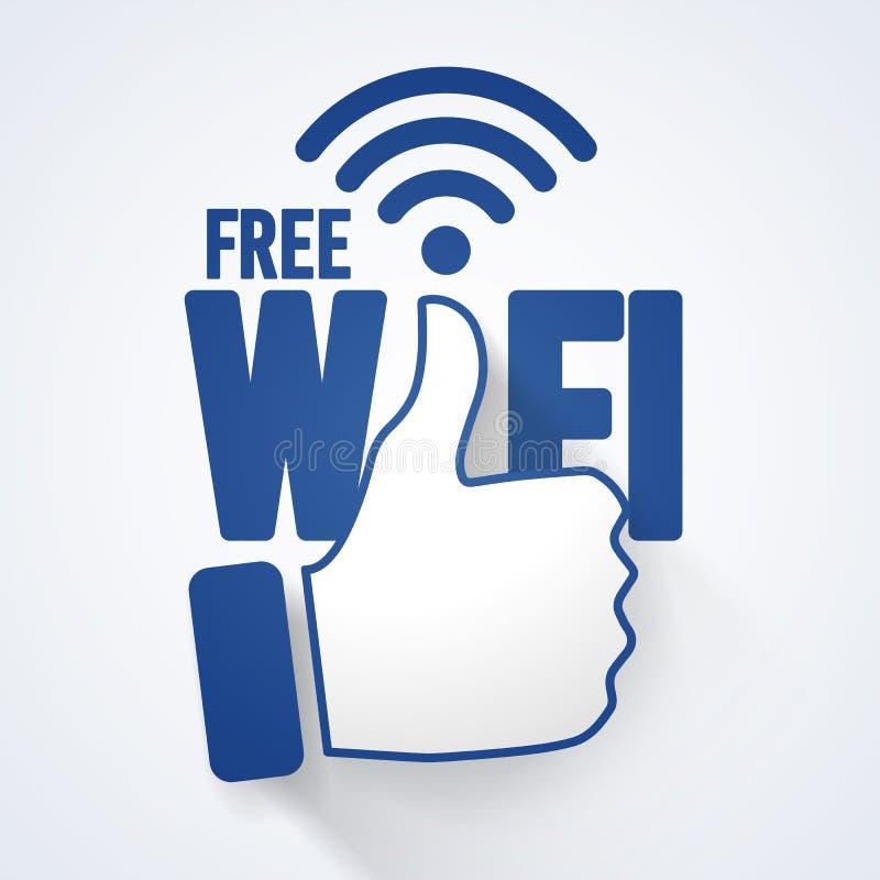 Wektorowej ilustraci wifi ikony symbolu znaka bezpłatny pojęcie z aprobatami ilustracja wektor