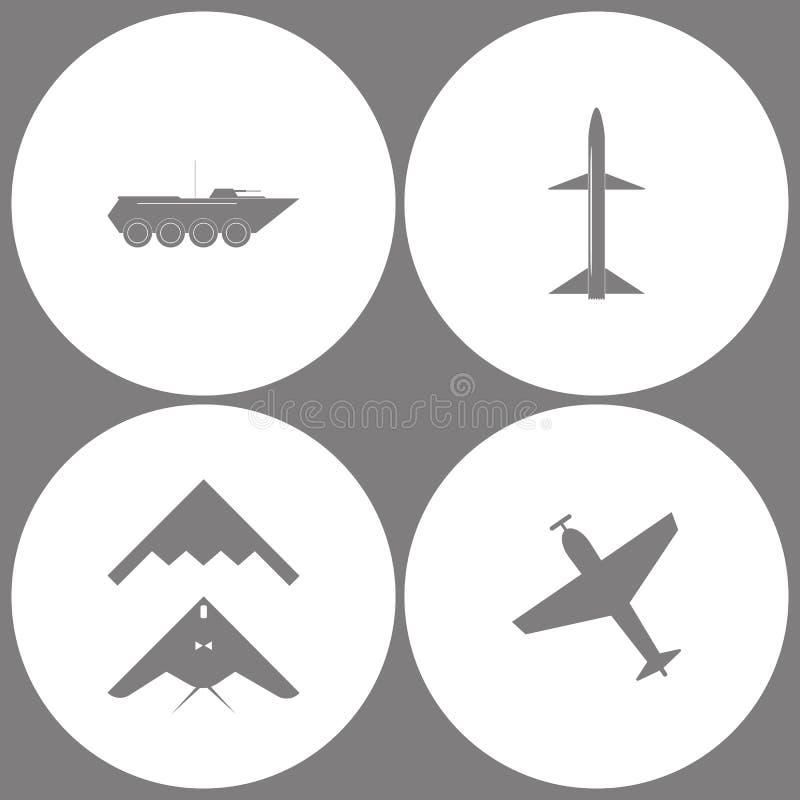 Wektorowej ilustraci wojska Ustalone Biurowe ikony Elementy pojazd pancerny, pocisk, podstęp, bombowiec i samolot z śrubą, płaski royalty ilustracja
