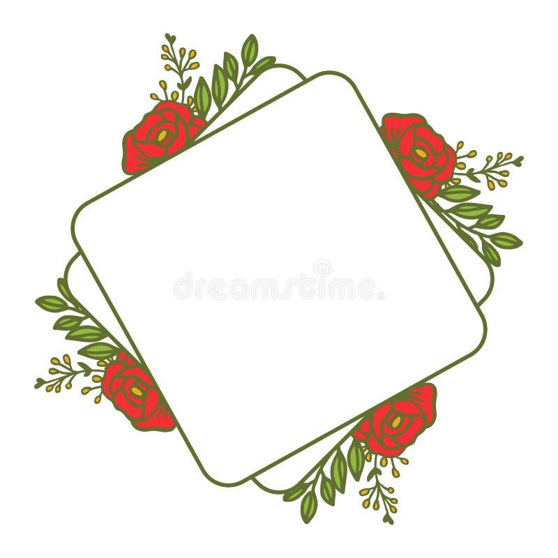Wektorowej ilustracja wzoru sztuki kwiatu różana czerwona rama z tło teksturami ilustracji