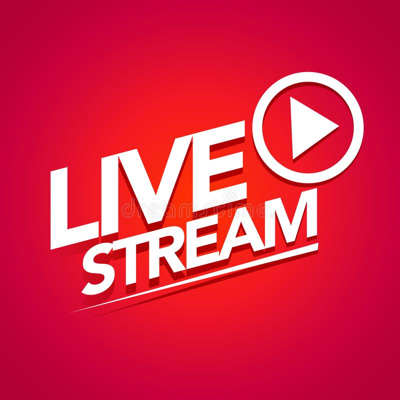 Wektorowej ilustracji żywy leje się logo - czerwony strumienia projekta element z sztuka guzikiem dla wiadomości, TV i online tra ilustracja wektor