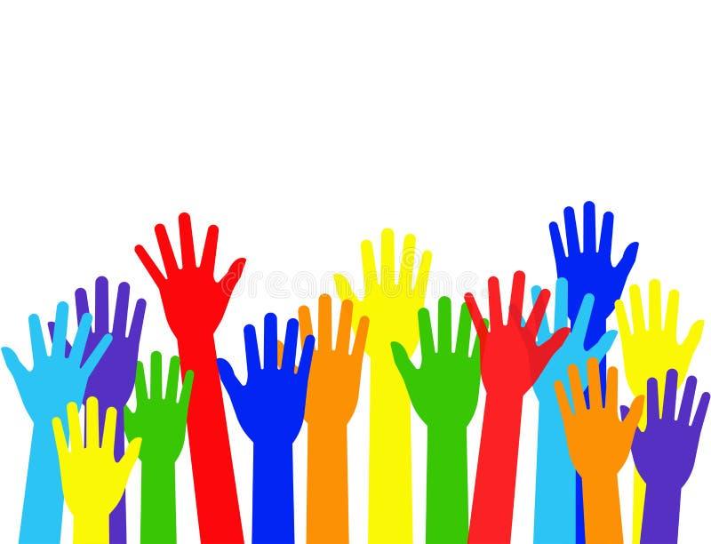 Wektorowej ilustracji nastroszone kolorowe ręki ilustracja wektor