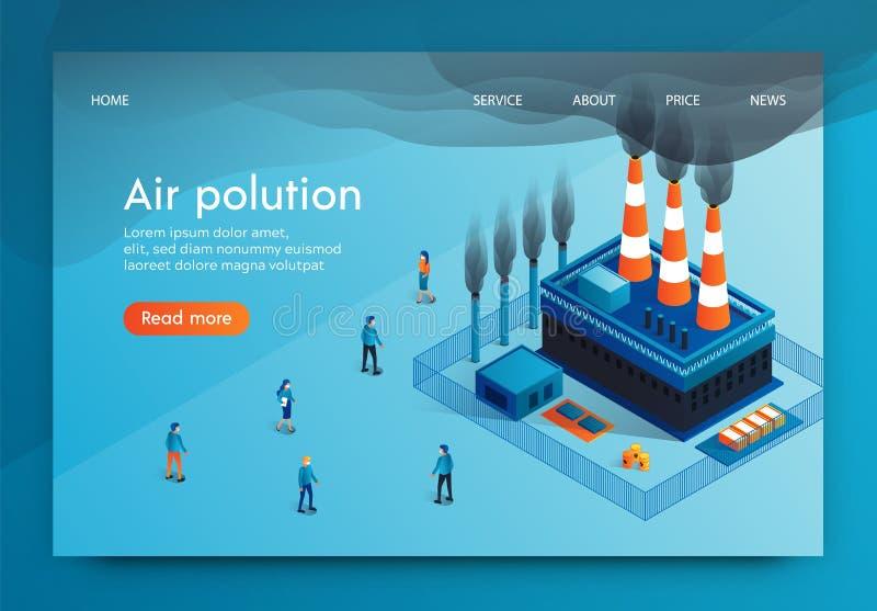 Wektorowej ilustracji Piszą zanieczyszczenie powietrza 3d ilustracja wektor
