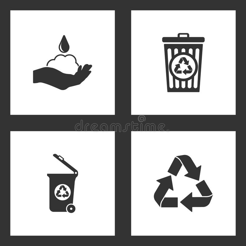 Wektorowej ilustracji Ustalone Czyści ikony Elementy mydło, kosz przetwarzają i Przetwarzają ikonę, kubeł na śmieci royalty ilustracja