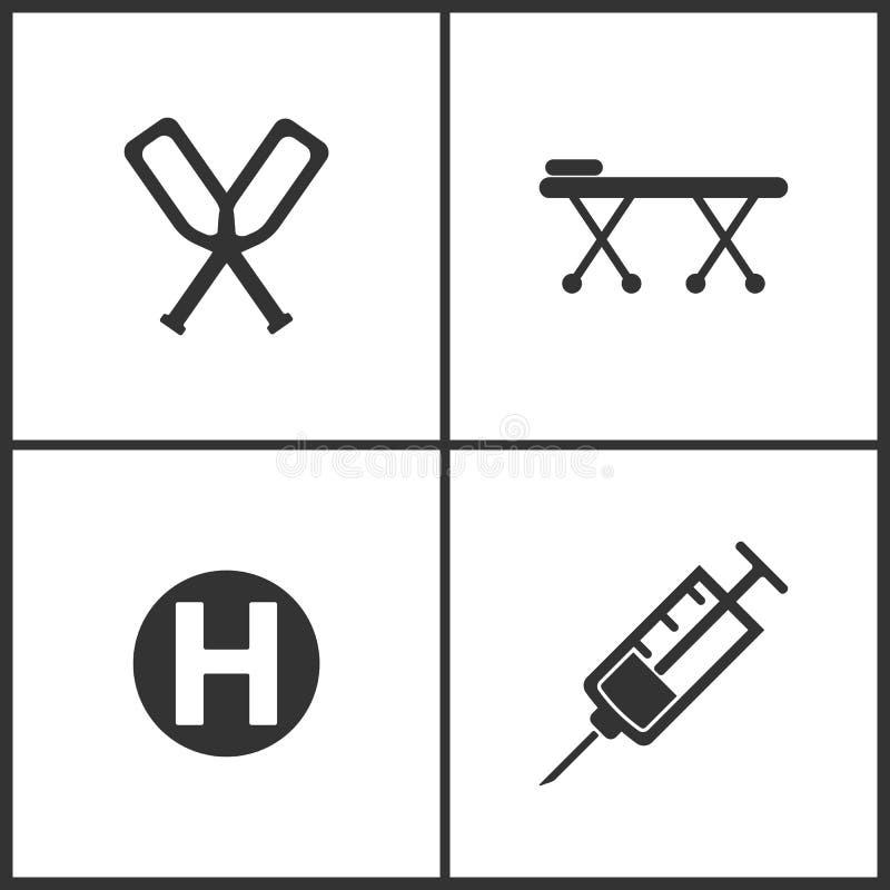 Wektorowej ilustracji Ustalone Medyczne ikony Elementy łóżko, ikona szczudeł, wynagrodzenia, szpitala i strzykawki ilustracji