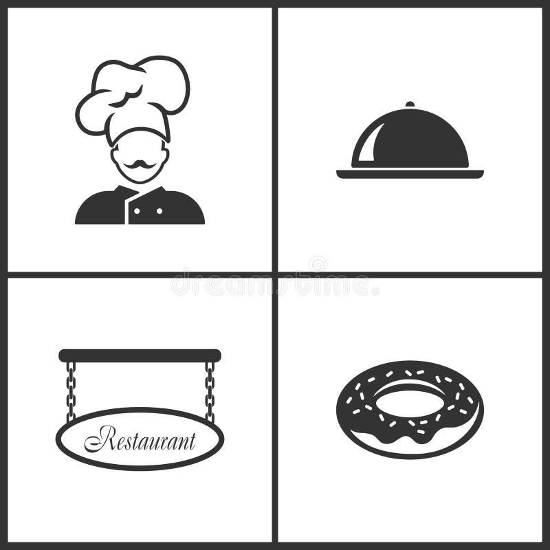 Wektorowej ilustracji Ustalone Medyczne ikony Elementy szef kuchni, taca, Pusty restauracja znak i pączek ikona, ilustracja wektor