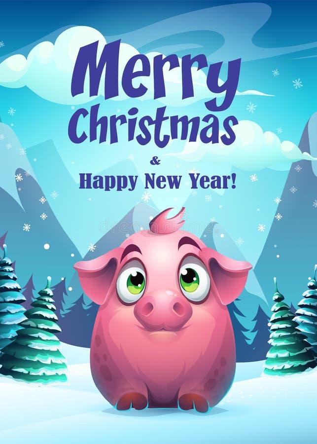 Wektorowej ilustracyjnej świniowatej kartki z pozdrowieniami Wesoło boże narodzenia ilustracji