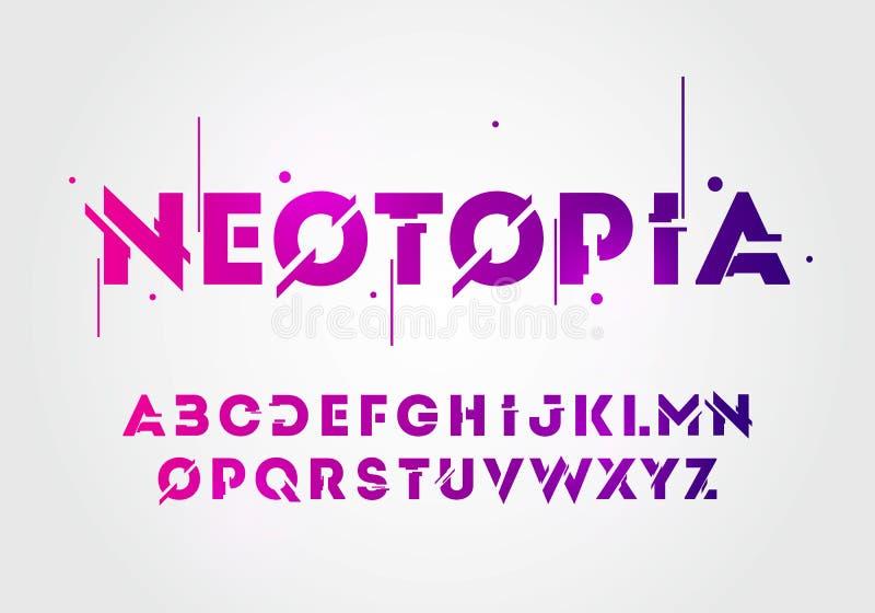 Wektorowej ilustracyjnej abstrakcjonistycznej technologii neonowa chrzcielnica i abecadło techno skutka logo projekty Typografii  royalty ilustracja