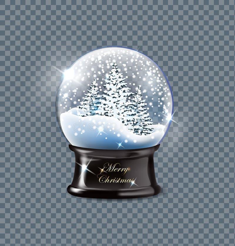 Wektorowej ilustracyjnej realistycznej pustej boże narodzenie śnieżnej kuli ziemskiej piękne choinki z śniegiem, odizolowywającym ilustracji