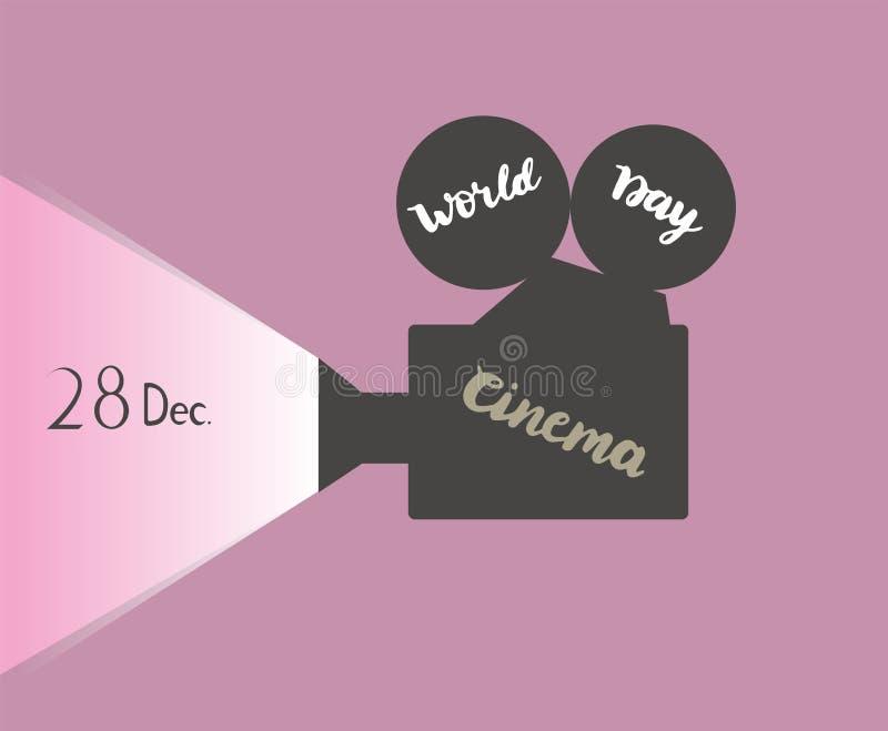 Wektorowej ilustracyjnej sylwetki kinowa kamera z kaligrafia teksta gratulacje światowy Kinowy dzień 28 Grudzień obrazy stock