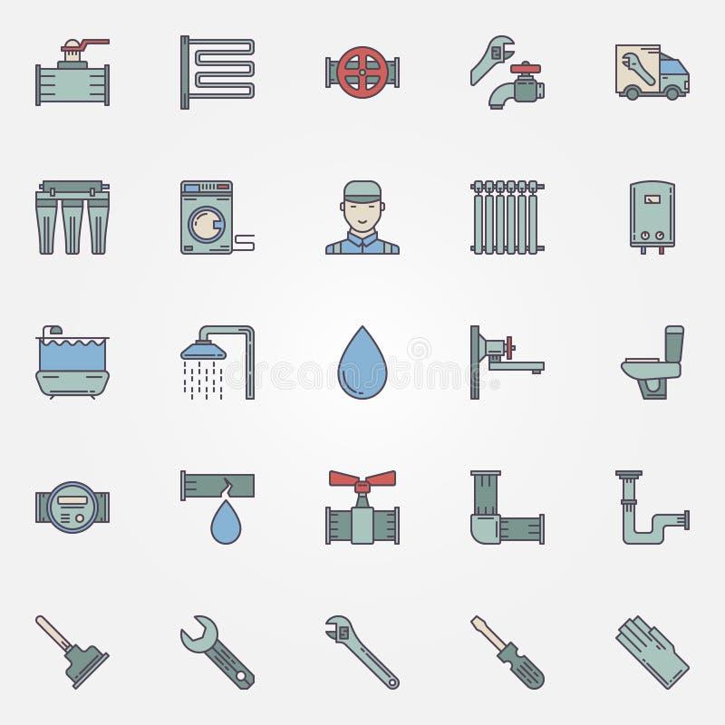 Wektorowej instalaci wodnokanalizacyjnej kolorowe ikony ilustracji