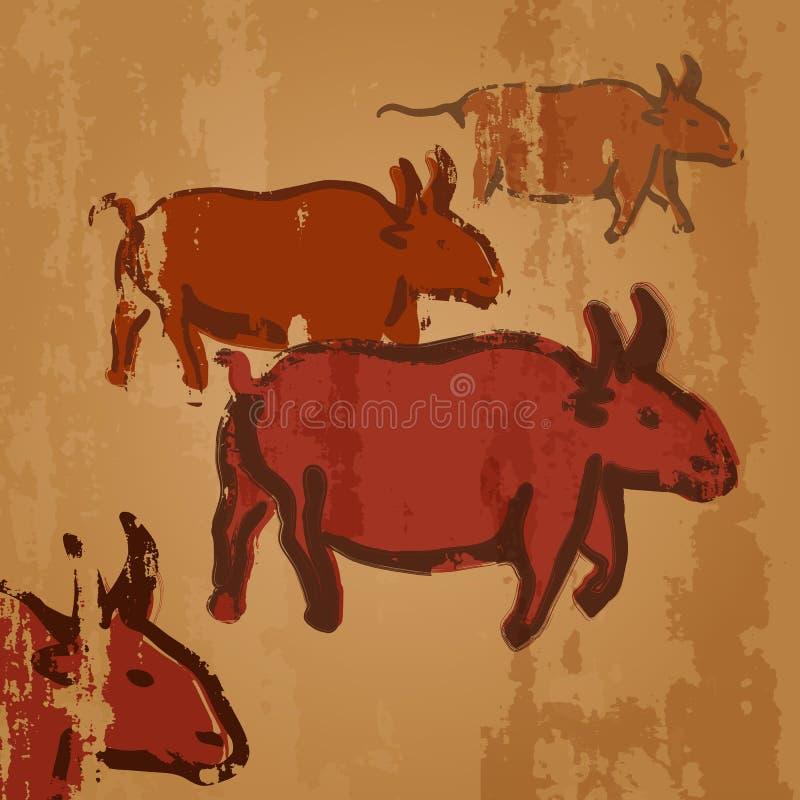 Wektorowej jamy Rysunkowa ilustracja - stado krowy Pierwotne sztuki royalty ilustracja