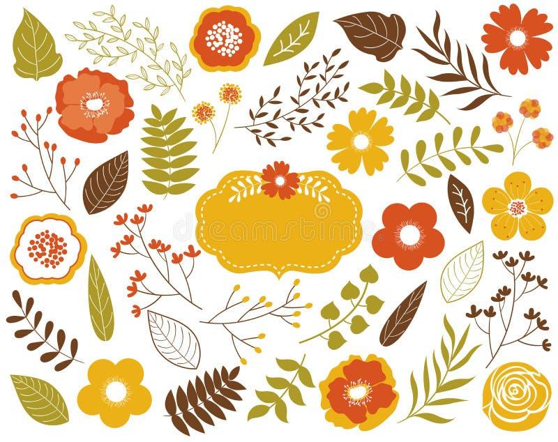 Wektorowej jesieni Kwiecisty set z liśćmi, kwiatami, jagodami i ramą, Wektorowi jesień liście, kwiaty i Wektorowy spadek ilustracja wektor