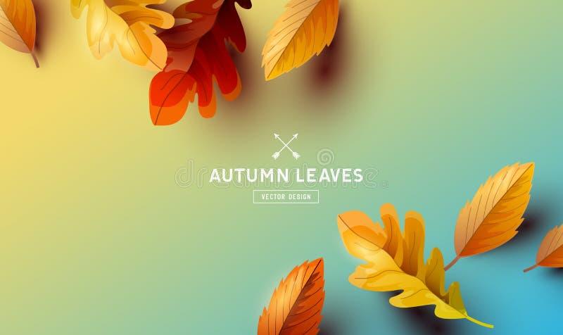 Wektorowej jesieni liści Spada tło ilustracja wektor