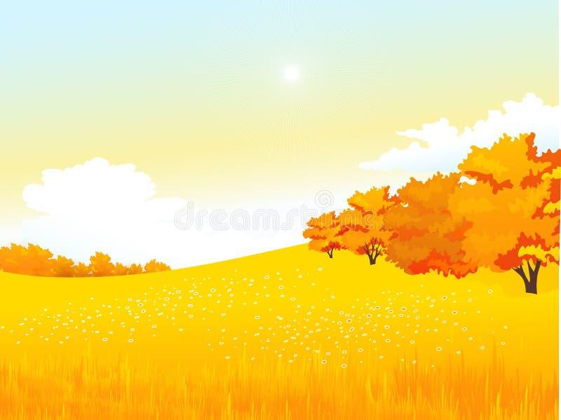 Wektorowej jesieni wiejski krajobraz z łąką i royalty ilustracja
