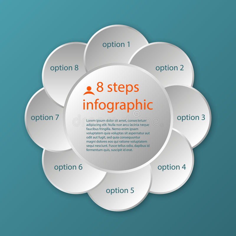 Wektorowej kółkowej linii czasu szablonu 8 infographic kroki ilustracji