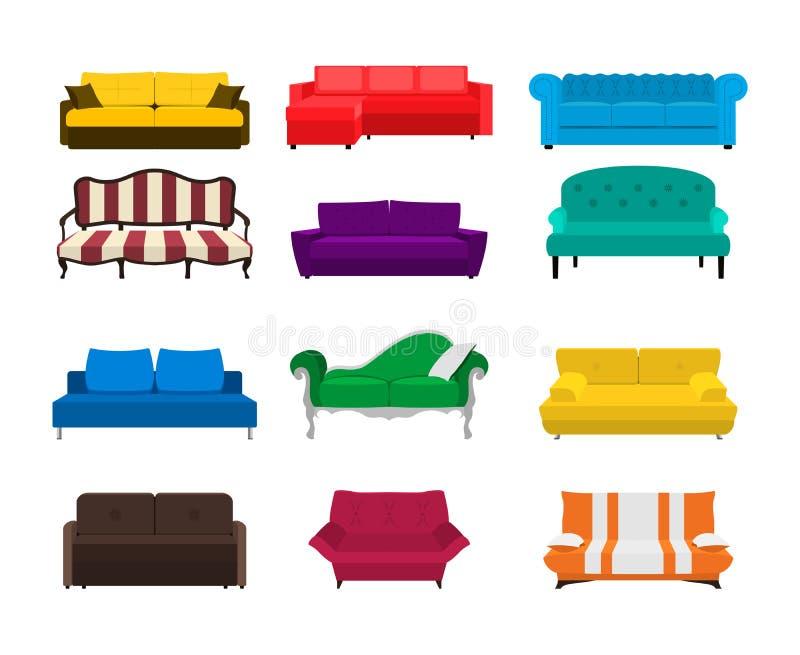 Wektorowej kanapy ustalona ikona Barwiona kolekcja odizolowywająca na białym tle Szablony dla wewnętrznego projekta EPS8 ilustrac royalty ilustracja