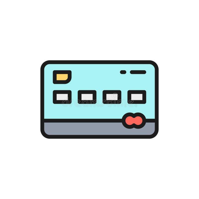 Wektorowej karty kredytowej koloru linii płaska ikona ilustracja wektor