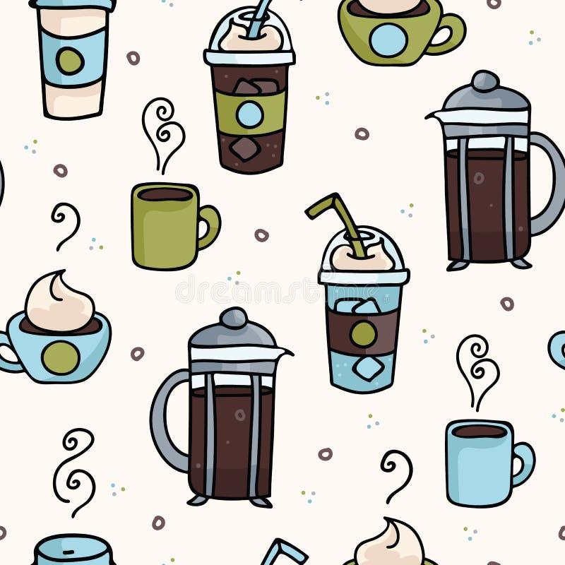 Wektorowej kawowej bezszwowej powtórka wzoru ilustracji różna kofeina pije ilustracja wektor