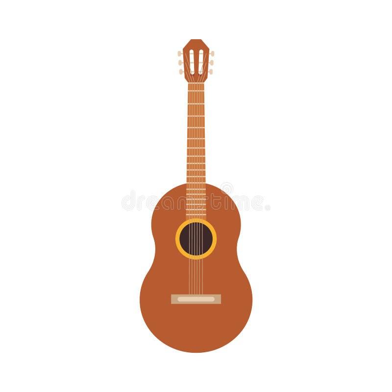 Wektorowej klasycznej drewnianej gitary akustycznej hiszpańska ikona royalty ilustracja