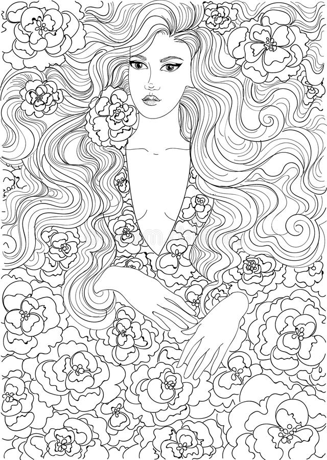Wektorowej kolorystyki piękna dziewczyna w kwitnącej sukni ilustracja wektor