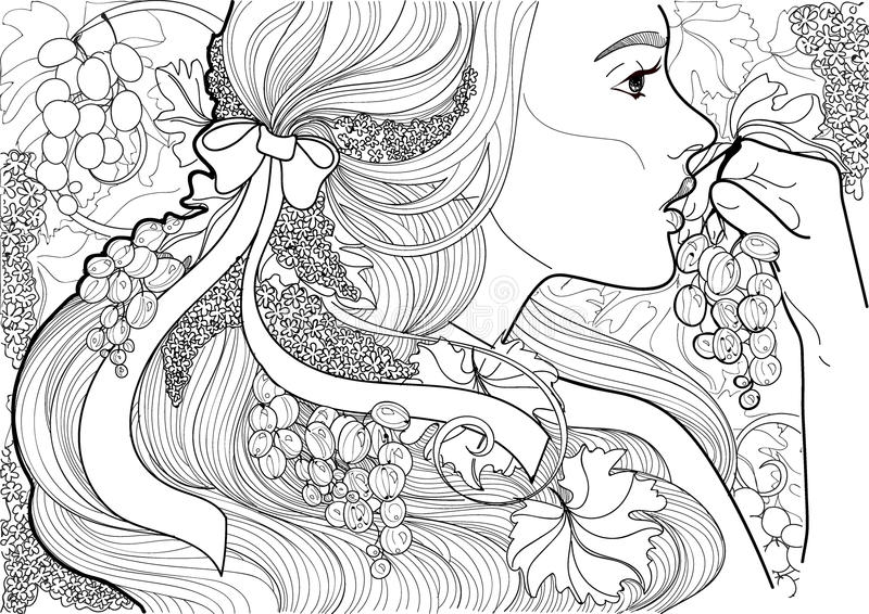 Wektorowej kolorystyki piękna dziewczyna z faborkiem w jej włosy i winogradu łasowania winogronach ilustracja wektor