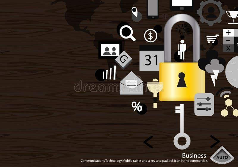 Wektorowej komunikaci biznesowej technologii Mobilna pastylka, kłódki ikona w reklama płaskim projekcie i klucz i royalty ilustracja