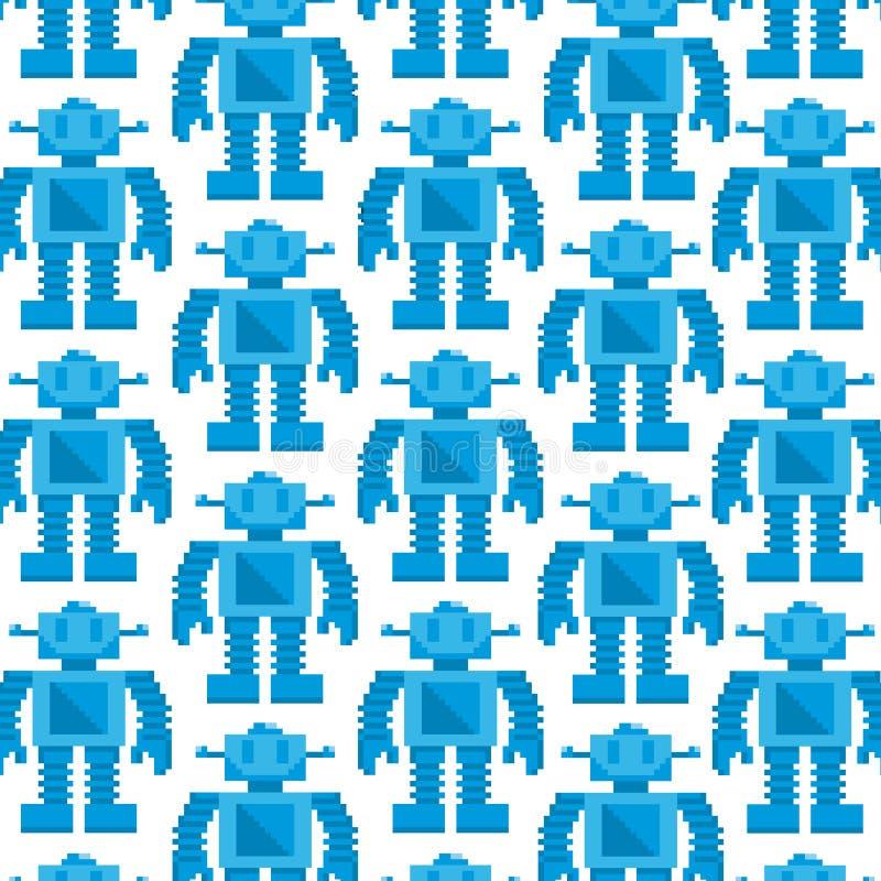 Wektorowej kreskówka piksla sztuki robota Błękitny tło royalty ilustracja