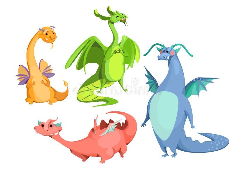 Wektorowej kreskówki śliczni magiczni kolorowi smoki ustawiający ilustracji