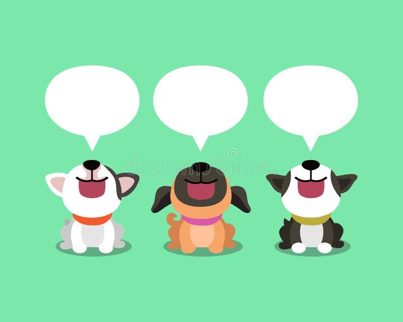 Wektorowej kreskówki śliczni psy z mowa bąblami royalty ilustracja