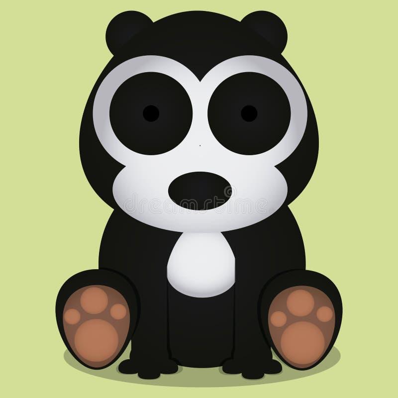 Wektorowej kreskówki Śliczny Czarny I Biały Niedźwiadkowy obsiadanie Odizolowywający ilustracja wektor