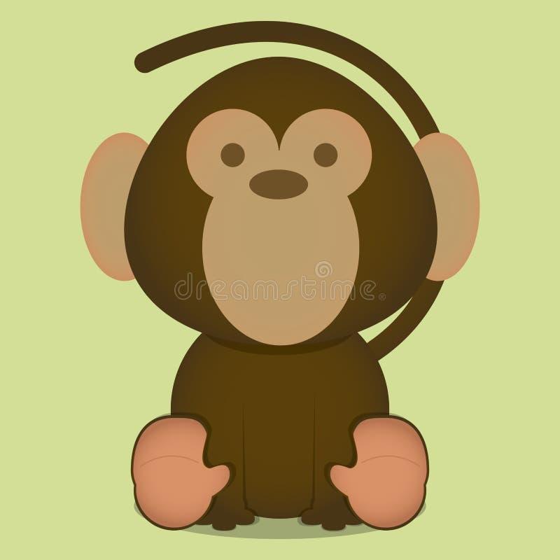 Wektorowej kreskówki Śliczny Mały Małpi obsiadanie Odizolowywający ilustracja wektor
