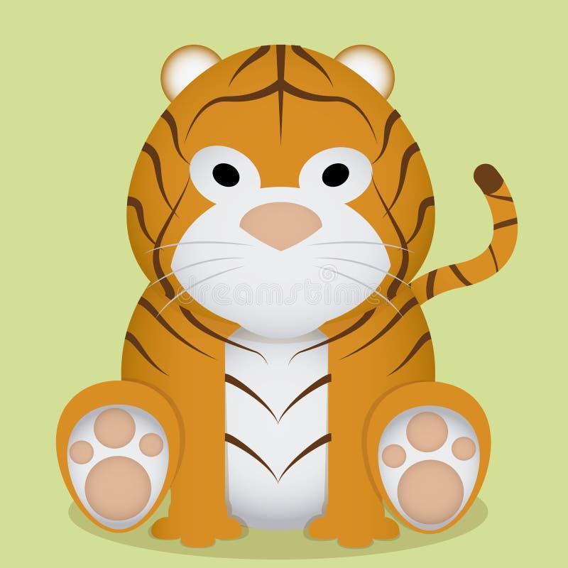 Wektorowej kreskówki Śliczny Mały Tygrysi obsiadanie Odizolowywający ilustracja wektor