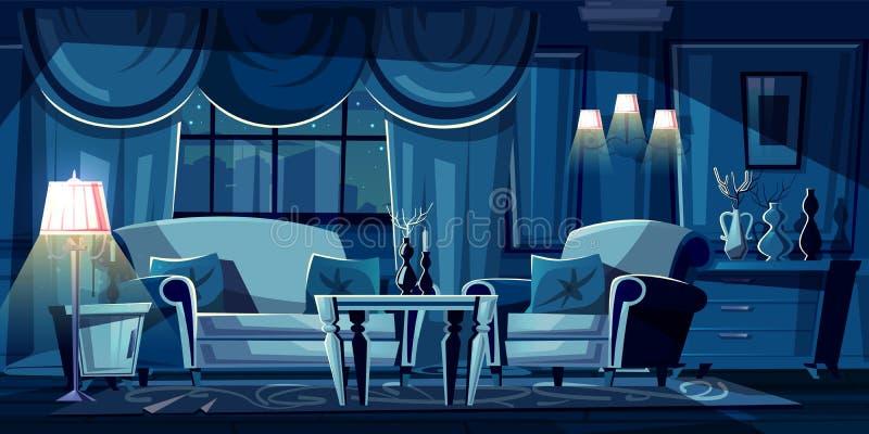 Wektorowej kreskówki żywy pokój przy nocą, wnętrze royalty ilustracja